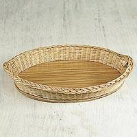 Rattan basket, 'Sweet Mother' - Decorative Rattan Basket Handmade in Ghana