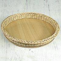 Rattan basket, 'Mother's Love' - Decorative Rattan Basket Handmade in Ghana