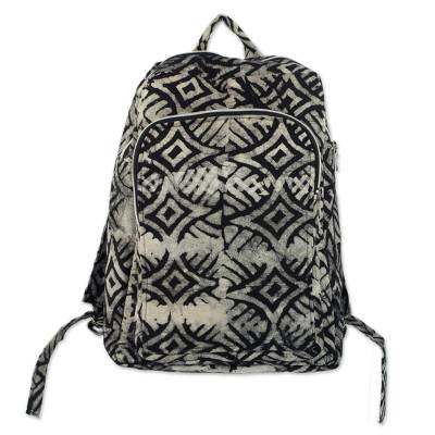 Cotton backpack, 'Abanga' - Black and White Batik Cotton Backpack with Shoulder Straps