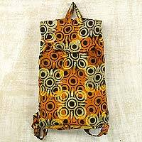 Cotton batik backpack bag, 'Saffron Mosaic' - Saffron and Brown Batik Art on Cotton Backpack from Africa