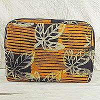 Batik cotton tablet sleeve, 'Leafy Protector' - Batik Cotton14 Inch Tablet Sleeve in Saffron from Ghana