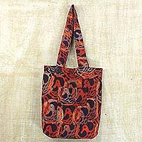 Batik cotton tote handbag, 'Flame Beauty' - Batik Cotton Tote Bag in Flame and Indigo from Ghana