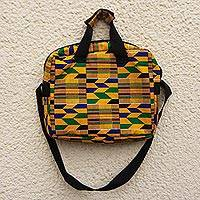 Cotton laptop bag, 'Kente Tote' - Brilliantly Colored Laptop Bag Made From Kente Cloth