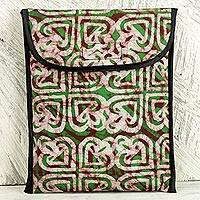 Cotton batik iPad case, 'Akoma Heart' - Batik Heart Pattern Green Cotton iPad Case by Ghana Artisan
