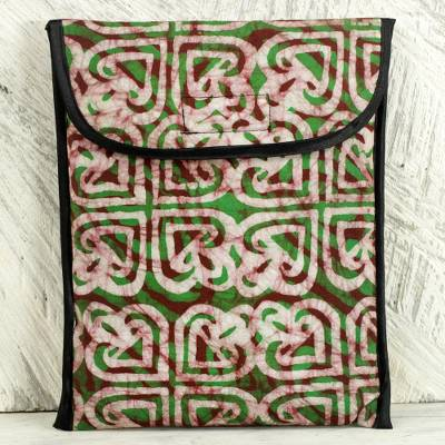 4b16d80cb5 Cotton batik iPad case, 'Akoma Heart' - Batik Heart Pattern Green Cotton  iPad