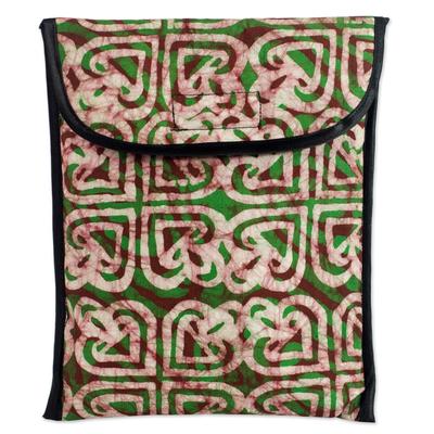 Batik Heart Pattern Green Cotton iPad Case by Ghana Artisan