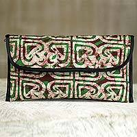 Batik cotton clutch, 'Akoma' - Handmade Multicolor Batik Cotton Clutch Purse from Ghana