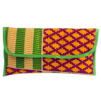100% Cotton Multicolor Printed Clutch Handbag from Ghana