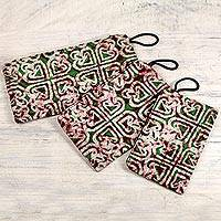 Cotton wristlet purses, 'Three of Hearts' (set of 3) - Set of Three Heart Patterned Cotton Batik Purses from Ghana