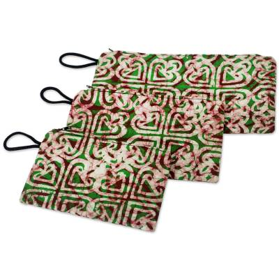 Set of Three Heart Patterned Cotton Batik Purses from Ghana