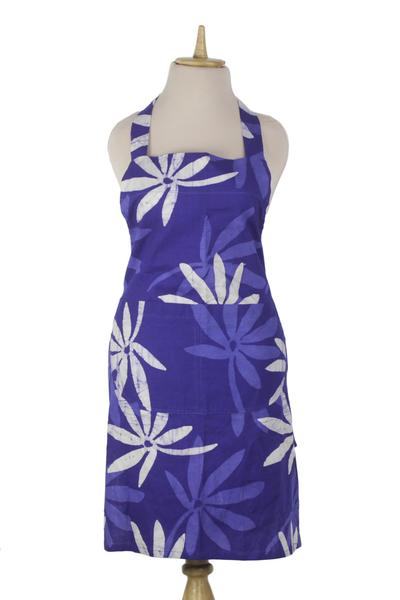 Cotton batik apron, 'Kitchen Blossoms' - Handmade Floral Blue Batik Cotton Apron from West Africa