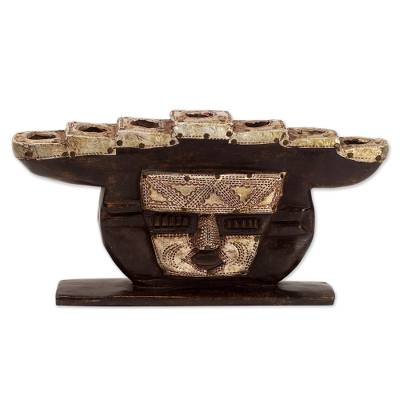Hand Made Wood Candleholder Face from Ghana