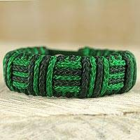 Cord bracelet, 'Green Kente Power' - Green Cord Striped Bracelet Handmade in Ghana