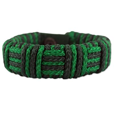 Cord bracelet, 'Green Kente Power' - Green Cord Striped Bracelet Handmade in Ghana