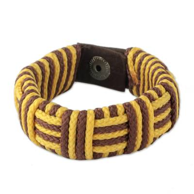 Cord bracelet, 'Brown and Yellow Kente Power' - Brown and Yellow Cord Striped Bracelet Handmade in Ghana