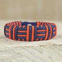 Cord bracelet, 'Blue and Orange Kente Power' - Blue and Orange Cord Striped Bracelet Handmade in Ghana