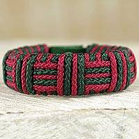 Cord bracelet, 'Red and Green Kente Power' - Red and Green Cord Striped Bracelet Handmade in Ghana