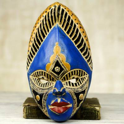 African wood mask, 'Ndidi' - Colorful Aluminum African Wood Mask from Ghana