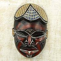 African wood mask, 'Chifuniro' - Authentic Carved Wooden Mask with Contrasting Color Theme