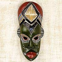 African wood mask, 'Nwanneka' - Hand Crafted Multicolor Painted Rubberwood Mask from Ghana