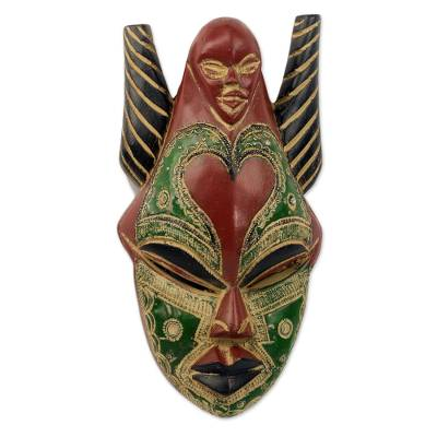 African wood mask, 'Strong Dejen' - African Rubberwood and Aluminum Multicolored Mask from Ghana