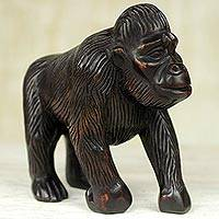 Wood statuette, 'Walking Gorilla' - Hand Carved Sese Wood Gorilla Statuette from Ghana