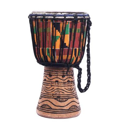 Handmade Ghanaian Multicolor Tweneboa Wood Djembe Drum