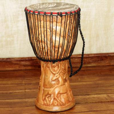 Wood djembe drum, 'Peace Drum' - Djembe Drum with African Nature Carvings