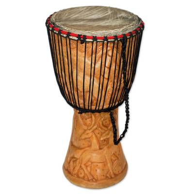Djembe Drum with African Nature Carvings