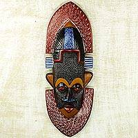 African aluminum and wood mask, 'Asuodom Pride' - Hand Made Wood Aluminum African Mask from Ghana