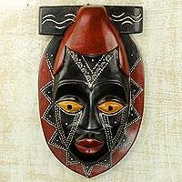 African wood mask, 'Buruwa' - Black and Red African Wood Mask Hand Carved by Ghana Artisan
