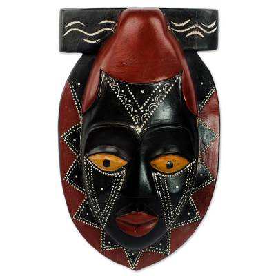 Black and Red African Wood Mask Hand Carved by Ghana Artisan