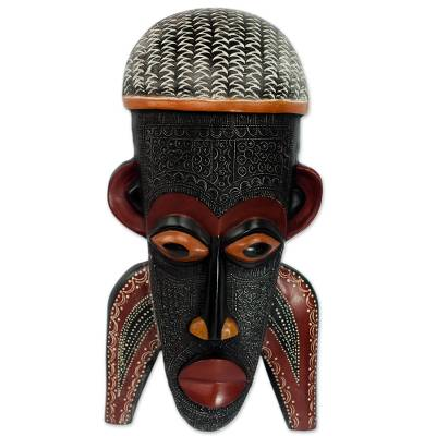 African wood mask, 'Three Pathways' - Hand Carved African Sese Wood Mask Inspired by a Festival