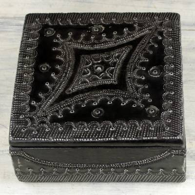 Decorative wood and aluminum box, 'Fortune Keeper' - Hand Crafted Wood Decorative Box with Aluminum from Ghana