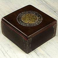 Decorative wood box, 'Ghanaian Keepsake' - Hand Made Wood Box Aluminum Accent from Ghana
