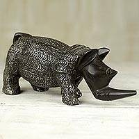 Wood sculpture, 'Steadfast Rhino' - Wooden Rhino Sculpture Hand Carved from West Africa