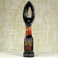 Wood sculpture, 'Woman of Prayer' - Handmade Multicolor Sese Wood Sculpture from Ghana