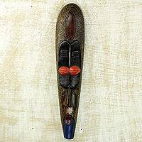 African wood mask, 'Little Woman' - Stunningly Painted Hand Carved African Sese Wood Mask