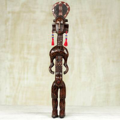 Wood statue, 'Warrior' - Hand Carved Sese Wood Statue of a Tall Watchful Warrior