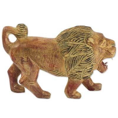Artisan Carved Sese Wood Lion Sculpture with Rustic Finish