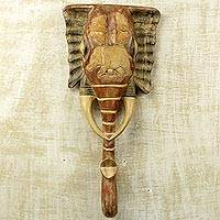 African wood mask, 'Beloved Elephant' - Hand Carved West African Elephant Wall Mask