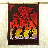 Cotton batik wall hanging, 'Sunset Praise' - Dyed Cotton Sunset Batik Wall Hanging from West Africa