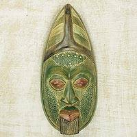 African wood mask, 'Gelede Festival' - Green West African Hand-Carved Sese Wood Replica Mask