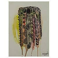 'Africa Elders Forum' - Signed Watercolor Expressionist Painting from Ghana