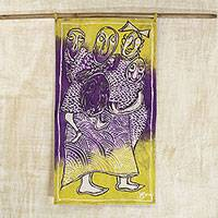 Batik cotton wall hanging, 'Agbekoya Hunters' - Batik Cotton Wall Hanging of People in Purple and Yellow