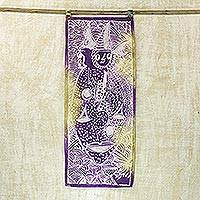 Batik cotton wall hanging, 'Ancestral Spirits' - Cotton Batik Wall Hanging in Purple from Ghana