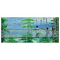 'Canopy Walk' - Painting of Children on Ghanaian Hanging Bridge Signed