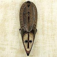 African wood mask, 'Brown Fang' - Hand Carved Antiqued Wood African Mask from Ghana