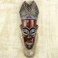 African wood mask, 'Colorful Africa' - Hand Carved Painted Wood African Mask in Red from Ghana