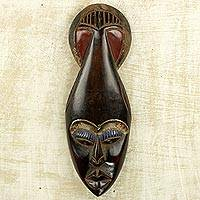 African wood mask, 'Yoreh Rain' - Hand Carved Brown Wood African Wall Mask from Ghana
